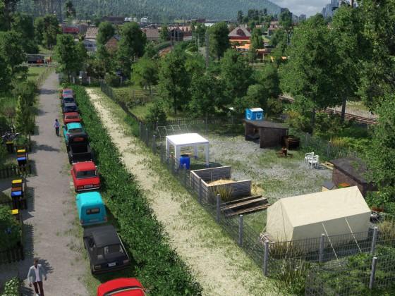 Wilde Gärten am Rand einer kleinen Stadtrandsiedlung