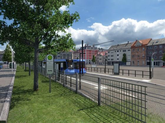 Straßenbahnen begegnen sich am Domplatz