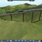 Ein Sonderzug auf einer der wiedererrichteten Brücken auf der Bahnstrecke Ebeleben-Burscheid