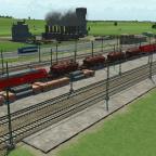 Güterzug wartet auf Beladung
