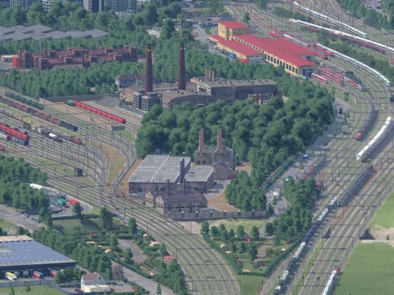 Industrie- und Eisenbahnanlagen im Freifelder Norden