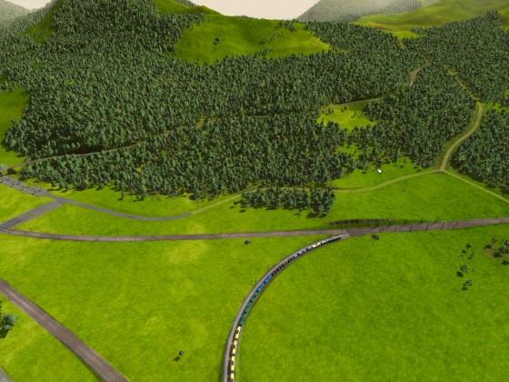 Gebirgsbahn: 1. Blick von Bad Wörishofen auf das Gebirge