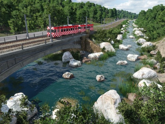 Fluss mit Strassen- und Schienenbrücke
