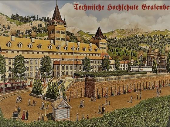 Die Technische Hochschule in Grafenbergen - Postkarten-Stil