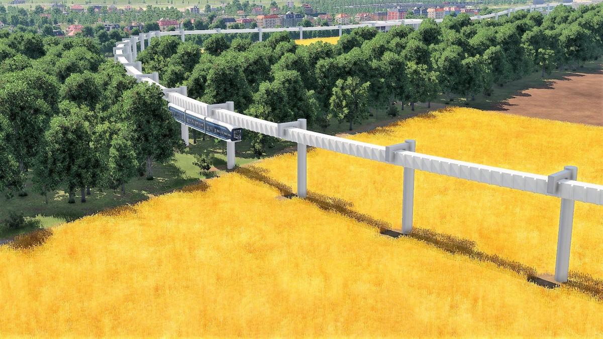 Prestigeprojekt Schwebebahn (Monorail) in Freifeld zwischen Flughafen und Messe 7/8