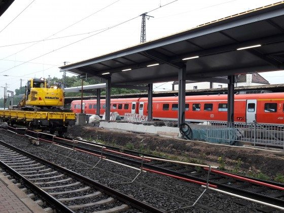 Bauarbeiten am Bahnsteig 3/4 in Schwerte