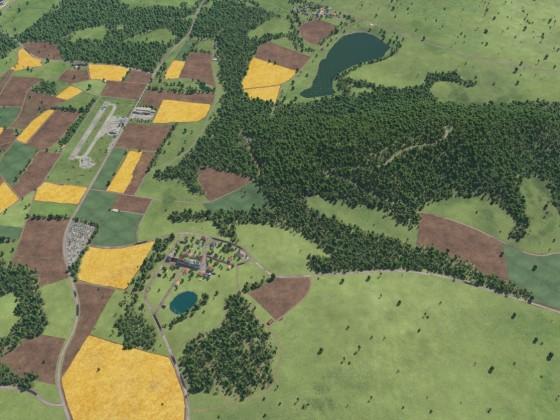 Vogelperspektive auf den Regionalflugplatz und seine Umgebung