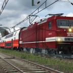 112 107-8 mit Sonderlackierung vor ÖBB Cityjets-Wagen