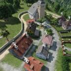 Sicht auf das Dorf aus der Luft.