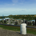 Vu du port et une partie de la ville avec ses tours, depuis le spot des montgolfière