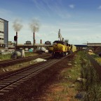 Union Pacific SD9043MAC crossing the industrial yard