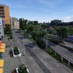 Vogelperspektive Haupteingang/Überlandtram-West-Einfahrt/Tramendschleife / Bird's eye view main entrance/Overland tram link west/tram loop