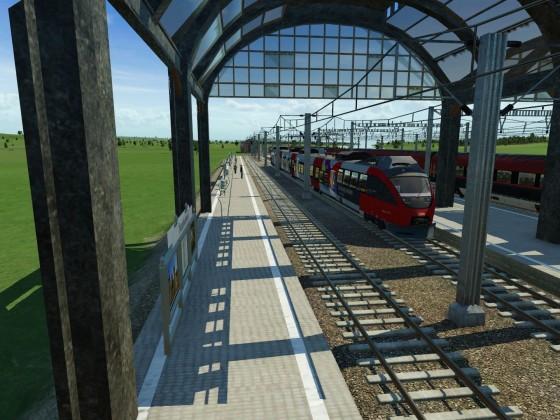 Die S1 fährt auf Gleis 2 und der railjet auf Gleis 3 in Salzburg ein (fiktiv!)