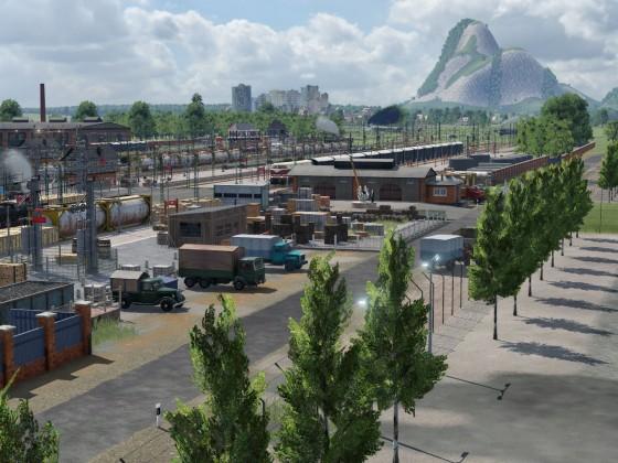 Güterbahnhof mit Waren