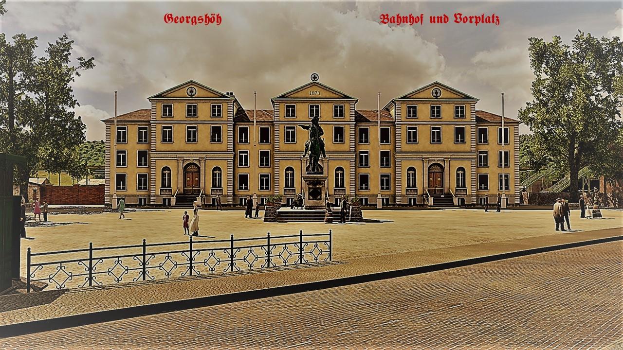 Bahnhof und Vorplatz in Georgshöh - Postkarten-Stil