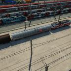 1014 011-9 mit Habbins-Ganzzug Im Güterbahnhof neben einem Betriebswerk