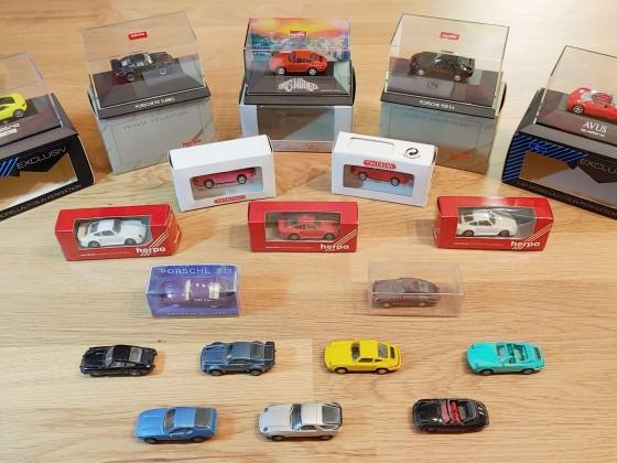 Diverse H0-Porsche aus den 80er und 90er Jahren