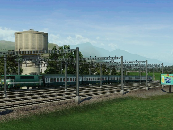 """Panorama with BB 9200 """"oullins"""" and USI wagons"""