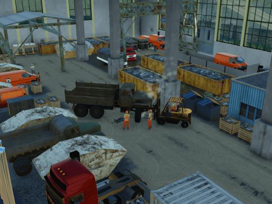 Die Halle zur Fahrzeugverwertung