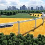 Prestigeprojekt Schwebebahn (Monorail) in Freifeld zwischen Flughafen und Messe 4/8