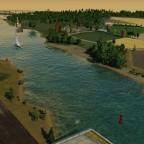 Blick vom Containerhafen aufs Ausflugsziel bei Billerbeck