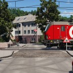 Vectron crossing the street in the small mountain village