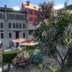 Fiktiver Innenhof des Restaurants BlueFox/Dolce Vita