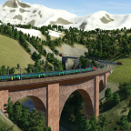 Brücke mit Bergpanorama