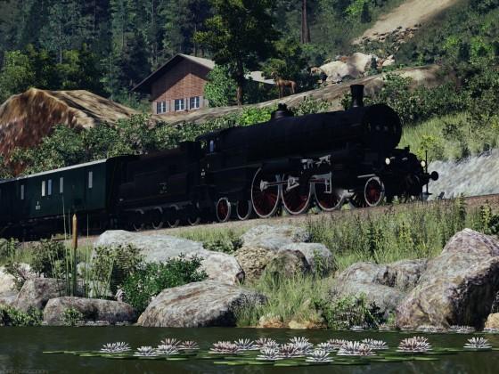 ÖBB 16 near the mountain river