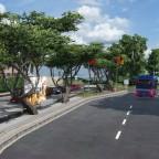 Bushaltestelle und Parkplatz in Athénaz Dorf redesigned