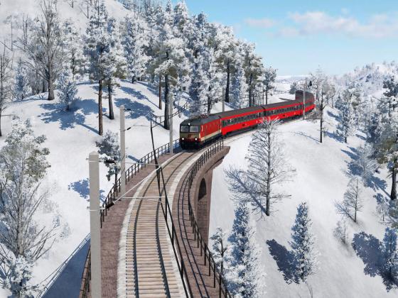 """Schnellzug Ausfahrt Bhf """"Wald am Hang"""""""